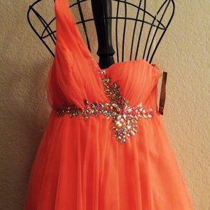 Sequin Hearts Coral One Shoulder Formal Dress  7
